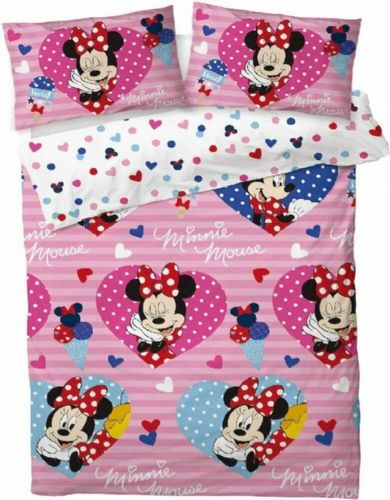 Double Bed Duvet Cover Set Minnie Mouse Love Hearts Reversible Bedding Set
